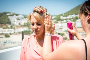 Getting the bride ready in Ibiza