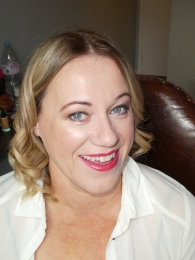 Clare Higson's wedding guest make up